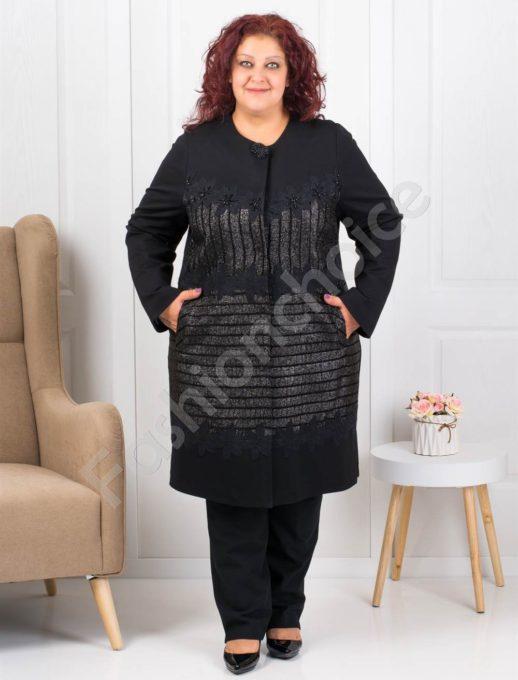 Μαύρο παλτό με γυαλιστερό κέντημα κωδ 3619