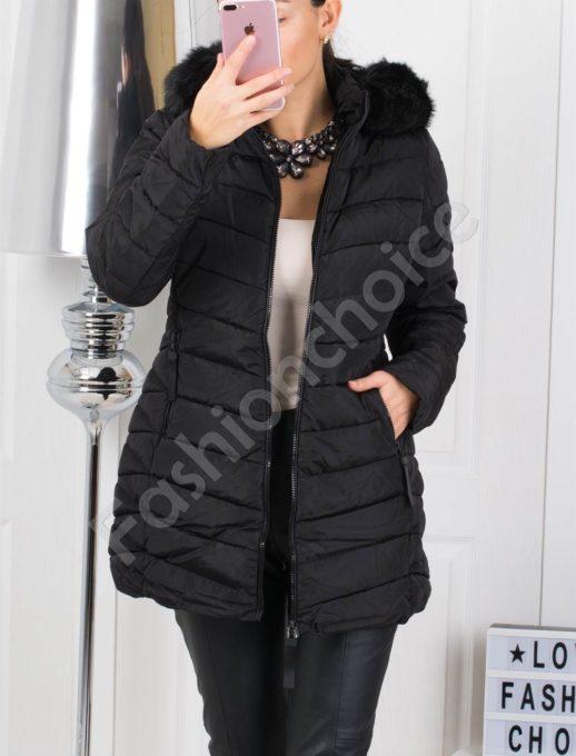 Μαύρο χειμωνιάτικο μπουφάν με κουκούλα κωδ 1779