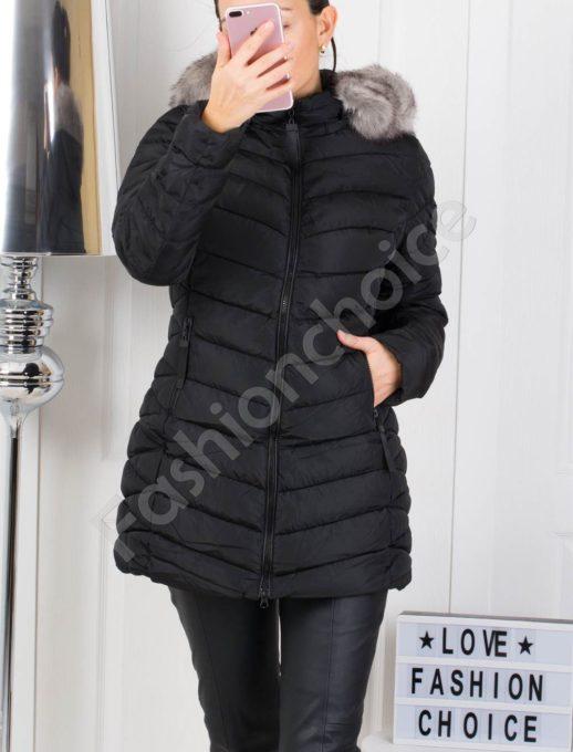 Μαύρο μπουφάν με λευκή γούνα στη κουκούλα κωδ 1779-1
