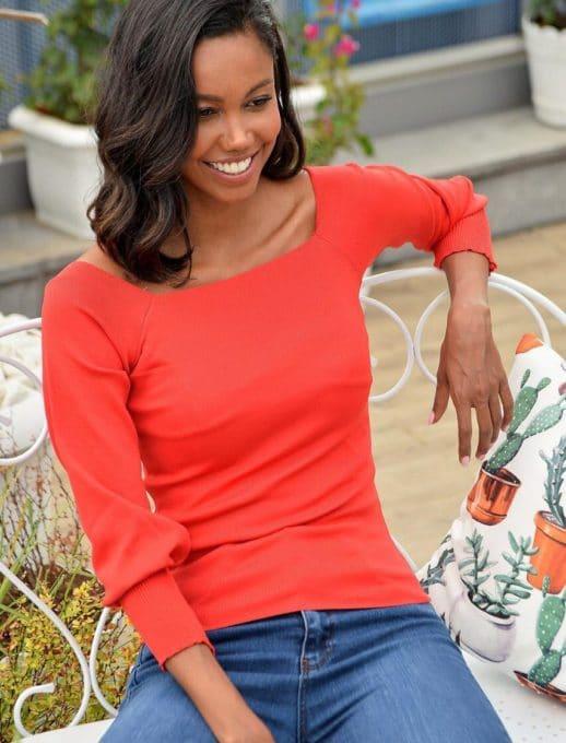 Πλεκτή κόκκινη μπλούζα με φαρδύ λάστιχο στα μανίκια κωδ 2112-2