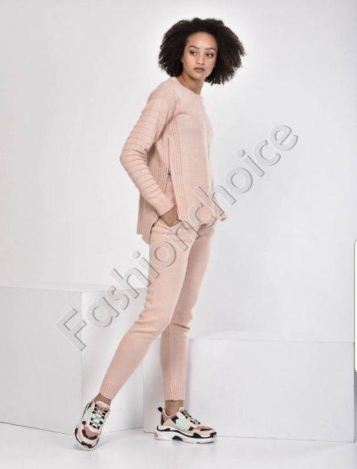 Πλεκτό σετ σε ροζ αντικέ χρώμα κωδ 01