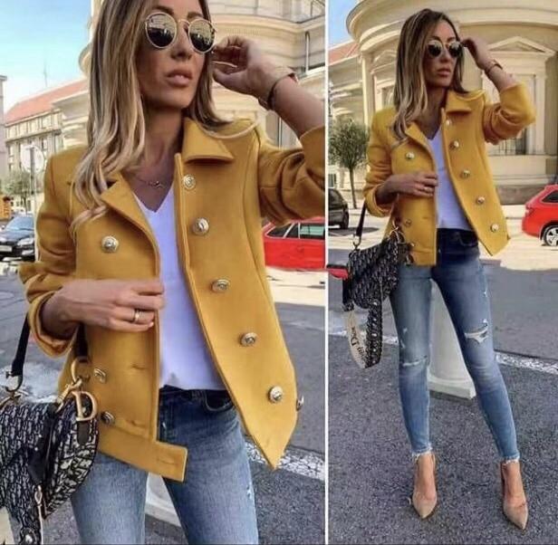 Μάλλινό jacket σε κίτρινο κωδ 290-3
