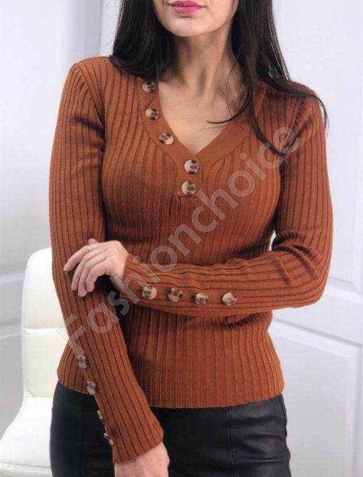 Ριπ πλεκτή μπλούζα με διακοσμητικά κουμπιά σε ταμπά χρώμα κωδ 517-3