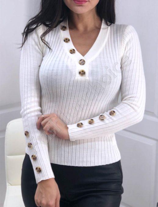 Ριπ πλεκτή λευκή μπλούζα με διακοσμητικά κουμπιά κωδ 517