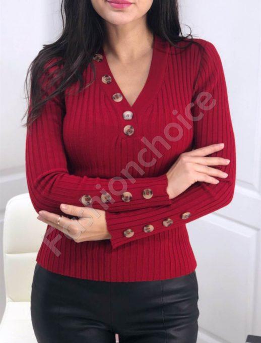 Ριπ πλεκτή κόκκινη μπλούζα με διακοσμητικά κουμπιά κωδ 517-2