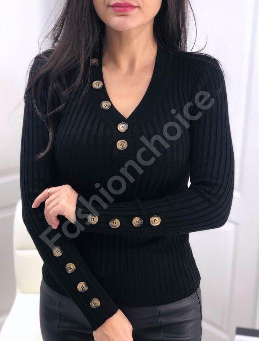 Ριπ πλεκτή μαύρη μπλούζα με διακοσμητικά κουμπιά κωδ 517-1