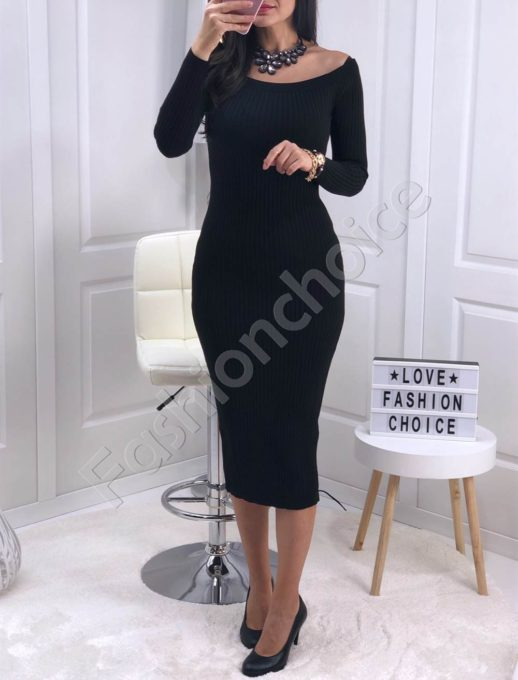 Πλεκτό pencil φόρεμα σε μαύρο κωδ 0387-1