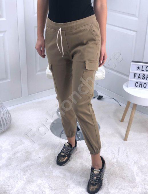 Μπεζ παντελόνι με εξωτερικές τσέπες στο πλάι κωδ 111-1