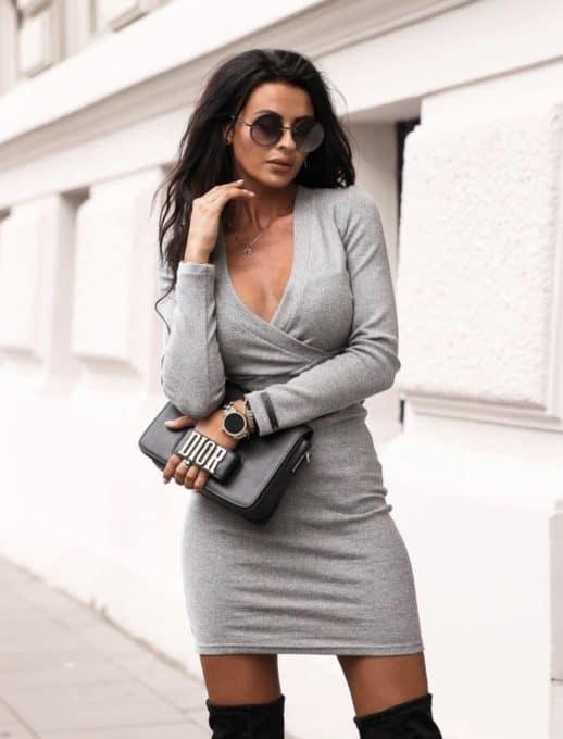Κρουαζέ mini φόρεμα σε γκρι κωδ 1326