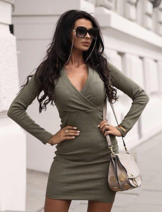 Κρουαζέ mini φόρεμα σε χακί κωδ 1326-1