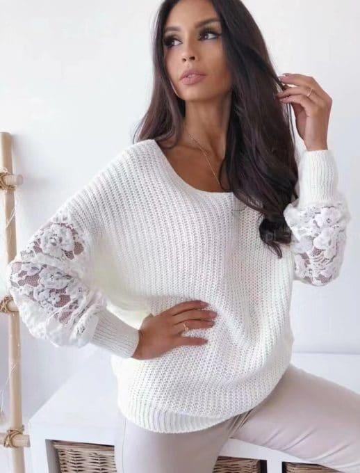 Λευκό πλεκτό πουλόβερ με μανίκι δαντέλα κωδ 9135