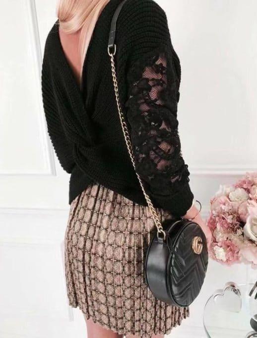 Μαύρο πλεκτό πουλόβερ με μανίκι δαντέλα κωδ 9135-1