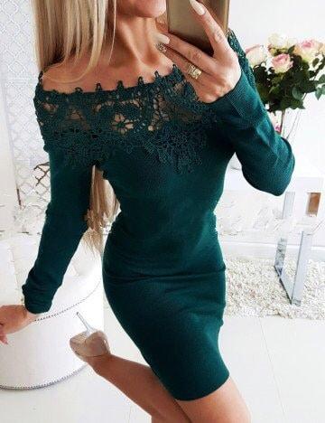 Πράσινο έξωμο pencil φόρεμα κωδ 1356-1