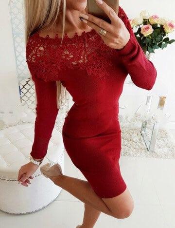 Κόκκινο έξωμο pencil φόρεμα κωδ 1356
