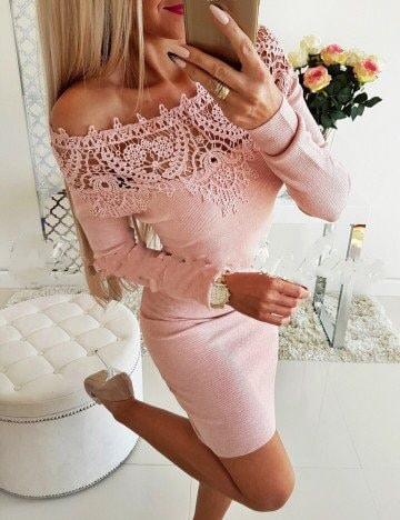 Ροζ έξωμο pencil φόρεμα κωδ 1356-4
