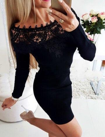 Μαύρο έξωμο pencil φόρεμα κωδ 1356-3