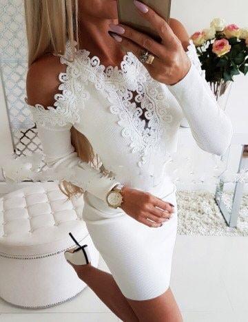 Λευκό pencil φόρεμα με διακοσμητική δαντέλα κωδ 1356-12