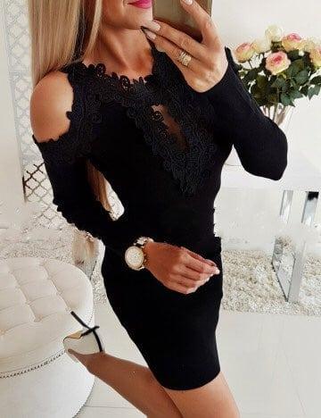 Μαύρο pencil φόρεμα με διακοσμητική δαντέλα κωδ 1356-7