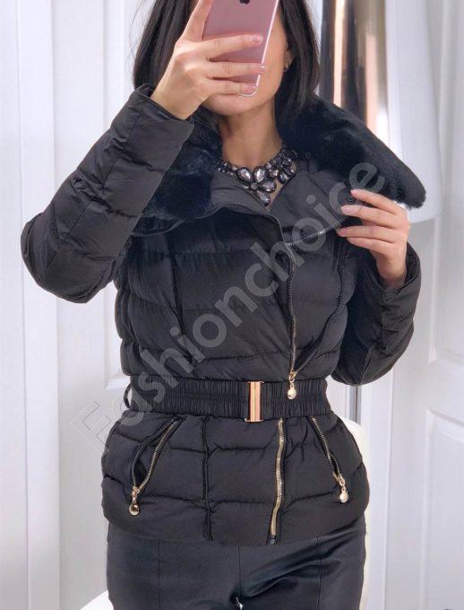 Μαύρο μπουφάν με αποσπώμενο γιακά κωδ 143