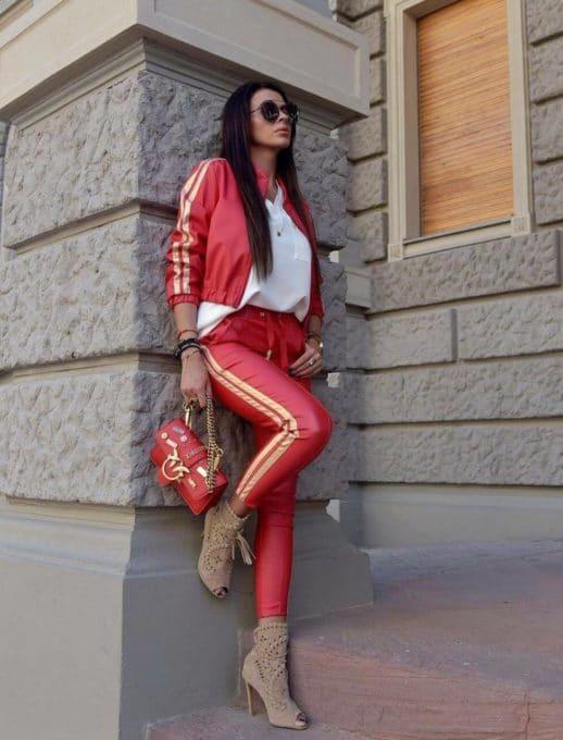 Γυναικείο κόκκινο σετ με όψη δερμάτινη