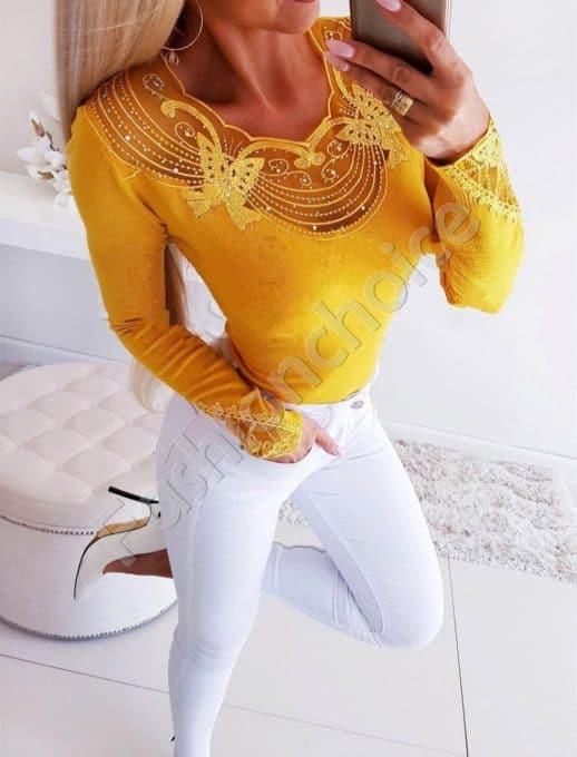 Κίτρινη μπλούζα με λεπτομέρεια κέντημα κωδ 1366-2
