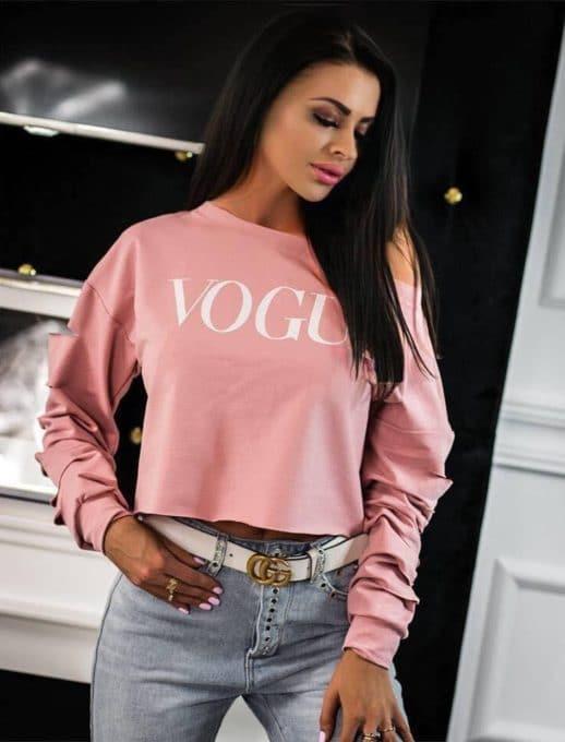 Ροζ μπλούζα με σκισίματα στα μανίκια κωδ 1287-1