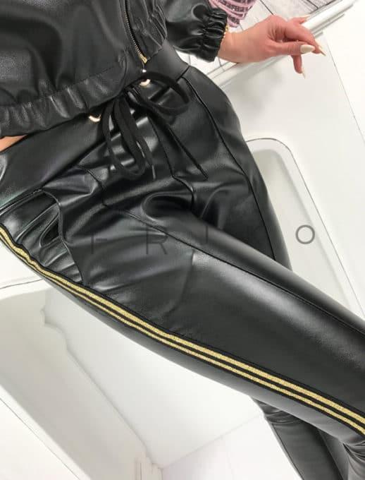 Παντελόνι με όψη δερμάτινη σε μαύρο με ρίγα