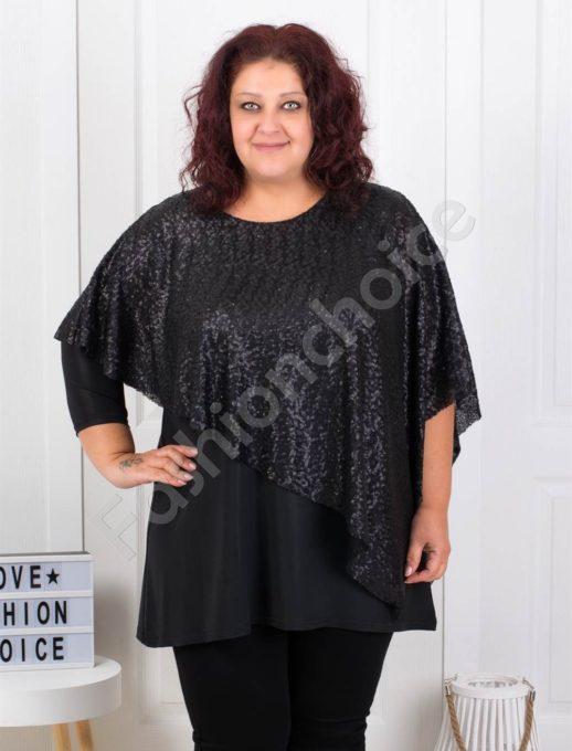 Μαύρη μπλούζα με ασύμμετρη κάπα παγιέτα κωδ 1147