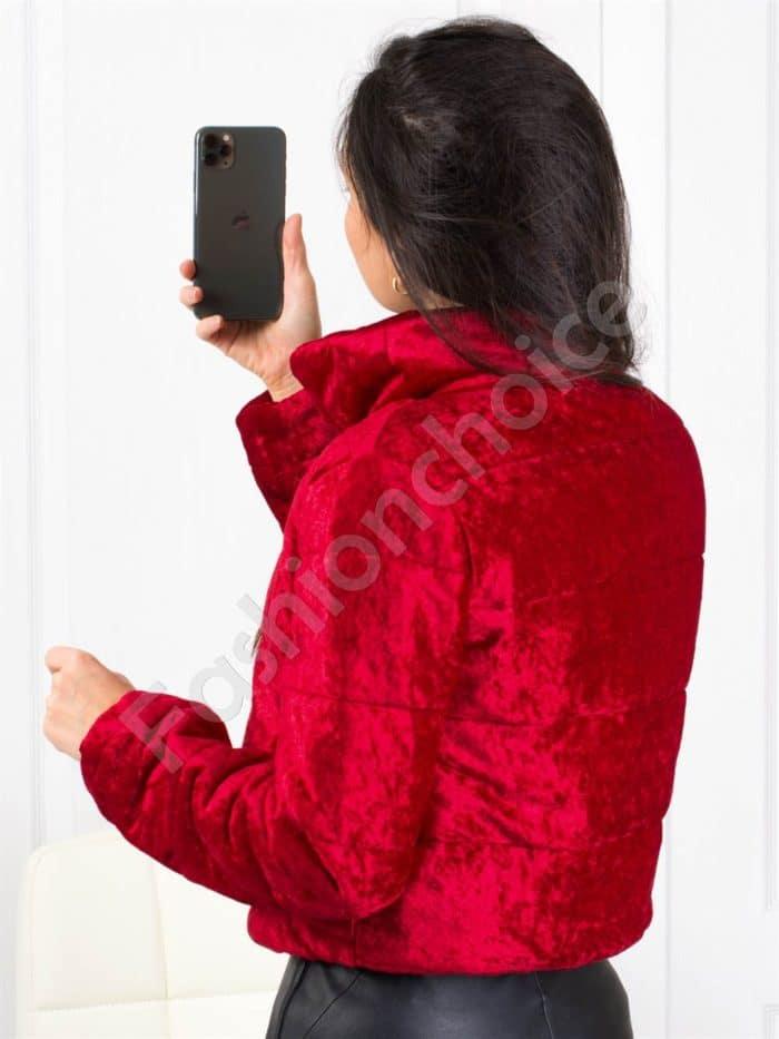 Bomber μπουφάν βελουτέ σε κόκκινο κωδ 1368-1