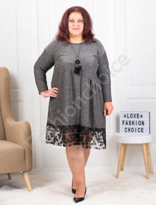 Λούρεξ φόρεμα σε ασημί με βολάν δαντέλα κωδ 7201