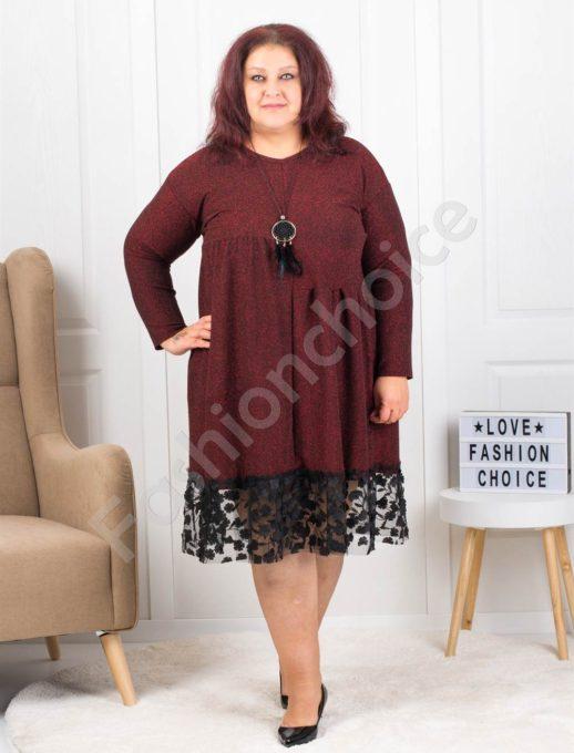 Λούρεξ φόρεμα σε μπορντό και δώρο το κολιέ κωδ 7201-1