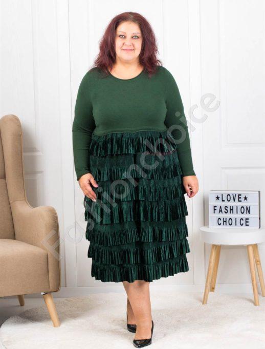 Πλεκτό φόρεμα σε πράσινο με βολάν κωδ 302
