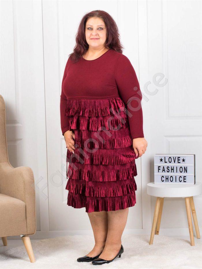 Πλεκτό φόρεμα σε μπορντό με βολάν κωδ 302-1