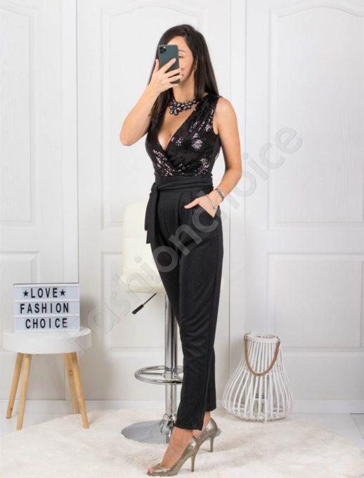 Μαύρη ολόσωμη φόρμα κρουαζέ με παγιέτα κωδ 21065