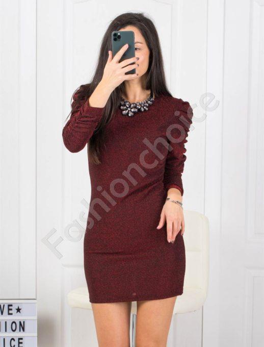 Mini φόρεμα σε μπορντό με ντραπέ μανίκι κωδ 21078-1