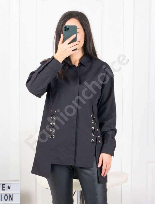Ασύμμετρο μαύρο πουκάμισο με λεπτομέρεια κωδ 953-2101-1