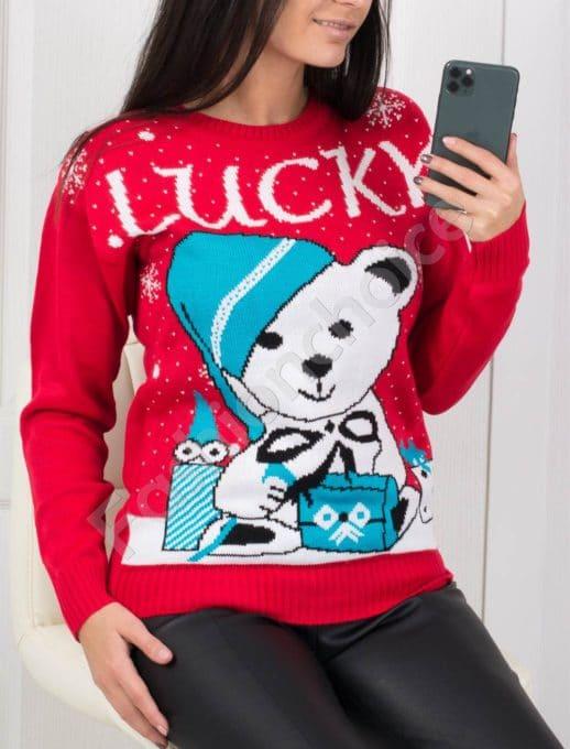 Χριστουγεννιάτικο πουλόβερ με αρκουδάκι σε κόκκινο κωδ 500