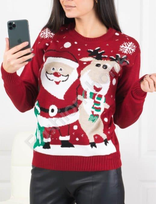 Χριστουγεννιάτικο πουλόβερ με Αγ.Βασίλης σε κόκκινο κωδ 466-1