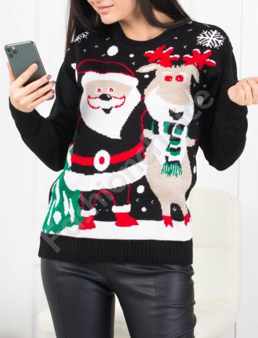 Χριστουγεννιάτικο πουλόβερ με Αγ.Βασίλης σε μαύρο κωδ 466