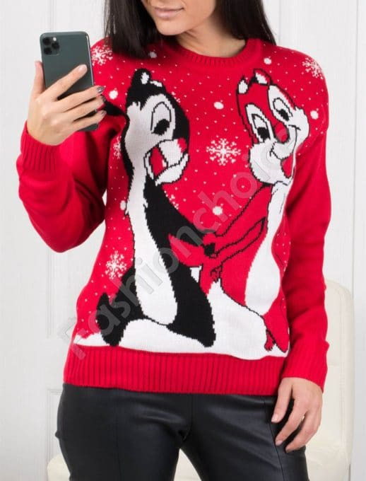 Χριστουγεννιάτικο πουλόβερ Cartoon σε κόκκινο κωδ 461-1
