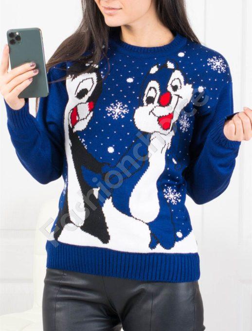 Χριστουγεννιάτικο πουλόβερ Cartoon σε μπλε κωδ 461-2