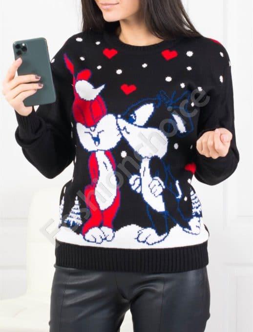 Χριστουγεννιάτικο πουλόβερ με κουνελάκια σε μαύρο κωδ 459