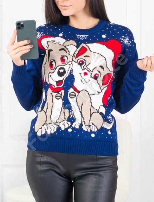 Χριστουγεννιάτικο πουλόβερ με σκυλάκια σε μπλε κωδ 469-2