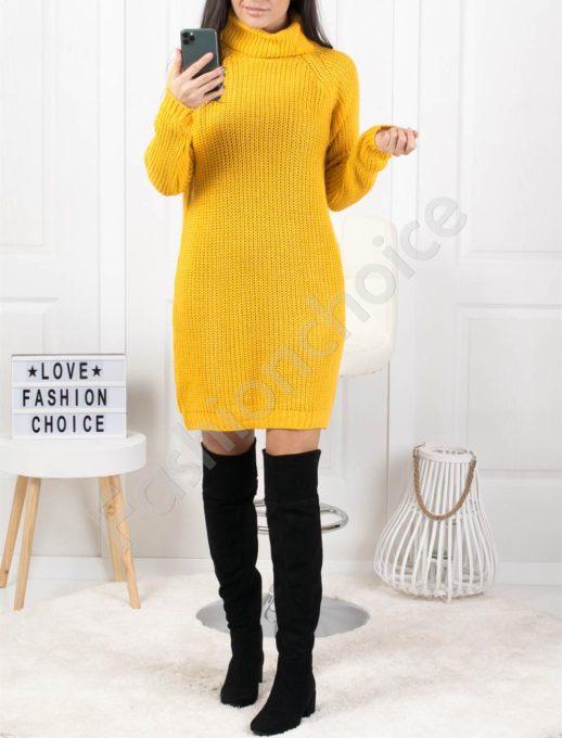 Μπλουζοφόρεμα ριπ πλεκτο σε κίτρινό κωδ 1377-4