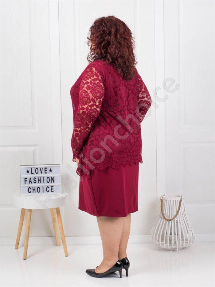 Φόρεμα σε μπορντο με δαντέλα και δώρο κολιέ κωδ 308
