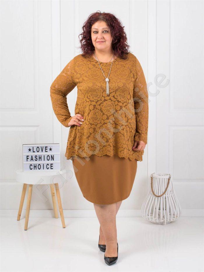 Φόρεμα σε ταμπά με δαντέλα και δώρο κολιέ κωδ 308-3