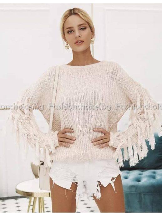 Λευκό πουλόβερ με κρόσια στα μανίκια κωδ 1103-2