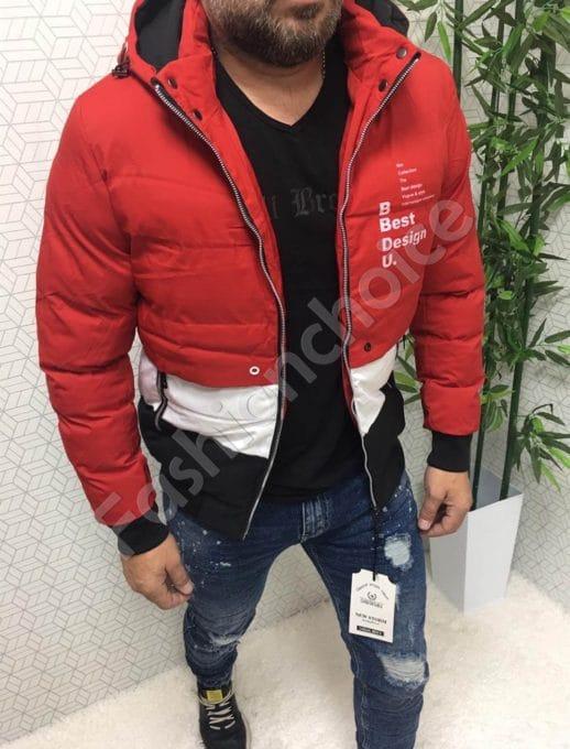 Χειμωνιάτικο μπουφάν σε κόκκινο με επιγραφή κωδ 2756
