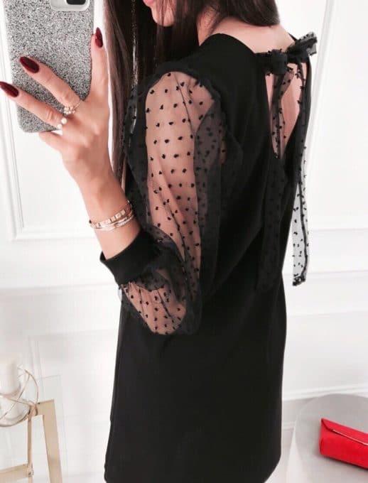 Μαύρο φόρεμα με μανίκια See Through κωδ 19124-1