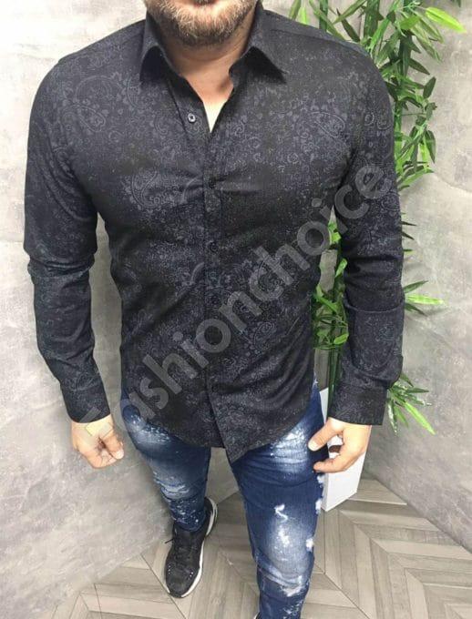 Μαύρο πουκάμισο με τύπωμα κωδ 680-3